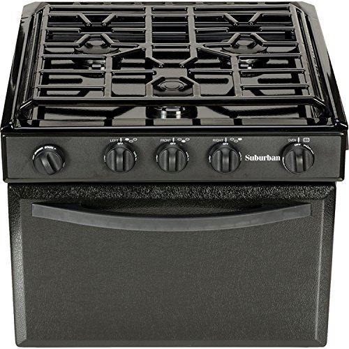 Suburban 17 Inch 3206A Gas Range with Conventional Burners-Black w/Piezo Ignition, 17'