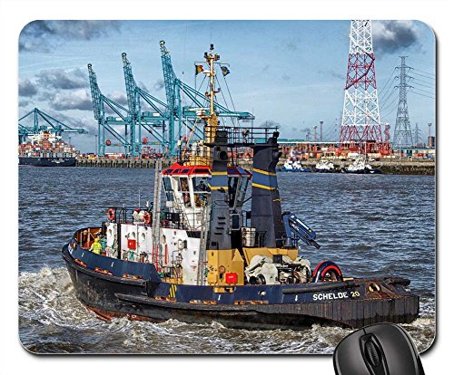 Mouse Pads - Antwerp Belgium Boat Tugboat Harbor Bay Water