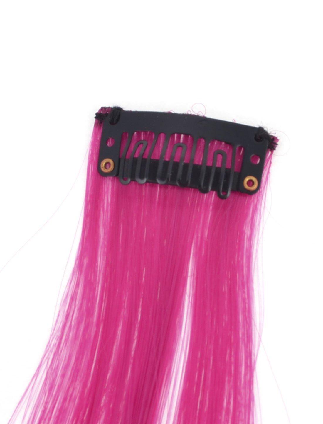Amazon.com: eDealMax Clip Diseño Derecho del Partido peluca de Pelo Caída, púrpura/Fucsia, 18.5 pulgadas, 0,04 la Libra: Health & Personal Care