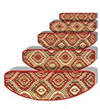 ZENGAI Carpet Stair Treads Runner Rug Pad (Set of 5) Super Anti-Slip Full Silicone Bottom Self Adhesive Continental Stepping Mat, 6 Dimensions (Color : A1, Size : 75x(24+3) cm)