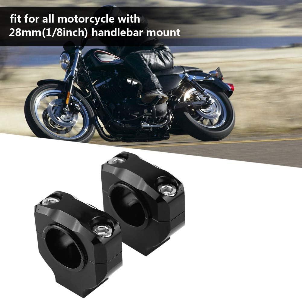 Fydun Fixation de Guidon de Moto Pinces de Barre de Poussoir Durables en Alliage daluminium CNC Noir Support de Guidon Universel de 28 mm
