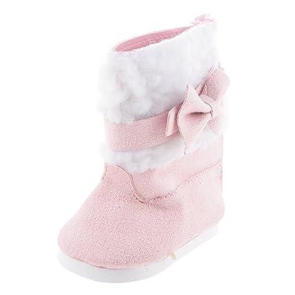 1 Par Zapatos Botas Rosado Decoración para Muñecas Niñas Americanas Moda