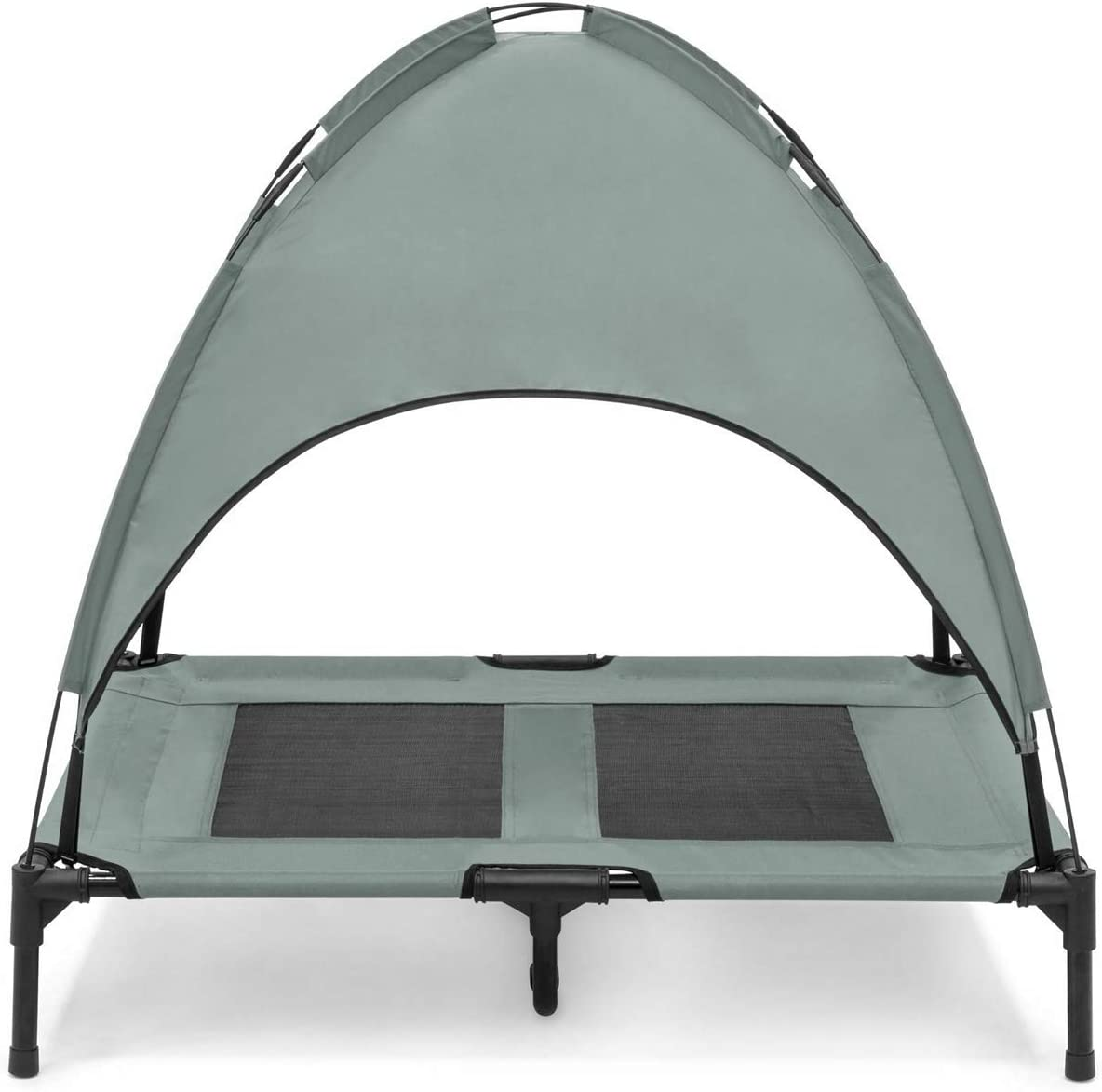 KM Mart 36inc. Gray Raised Outdoor Elevated Mesh Cooling Dog Bed Canopy Tent Sun Shade Breathable Mesh Camping or Beach Bed