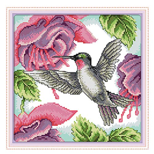 (XSHION Stamped Cross Stitch Kits, Cross-Stitching Pattern for Home Wall Decor, 11CT 3 Strands Embroidery Crafts Needlepoint Kits for Beginner Kids Adults,13.77 x 13.77 Inch Frameless- Hummingbird)