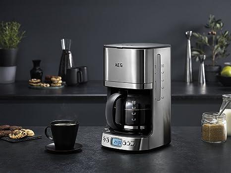 AEG KF7600 Cafetera Eléctrica, 1080 W, 1.25 litros, Acero Inoxidable, Gris
