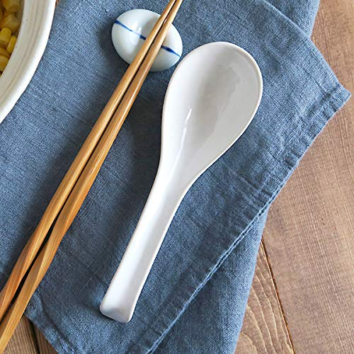 White Zen Table Japan Asian Soup Spoon With Hook Set of 6 Made in Japan