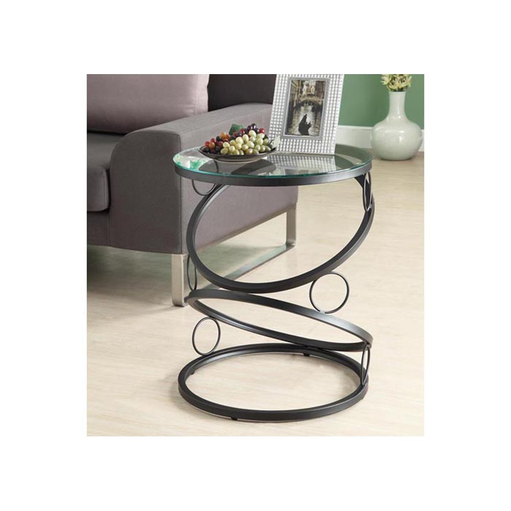 Captivating Amazon.com: Monarch Specialties Metal Accent Table With Tempered Glass,  Matte Black: Kitchen U0026 Dining