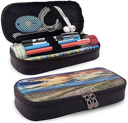 Estuche para lápices, Estuche de cuero para estuches, Estuche para lápices, Porta lápices de gran capacidad Tuscany Sun Setting Clouds Pathway 4cmx9.2cmx20cm: Amazon.es: Oficina y papelería