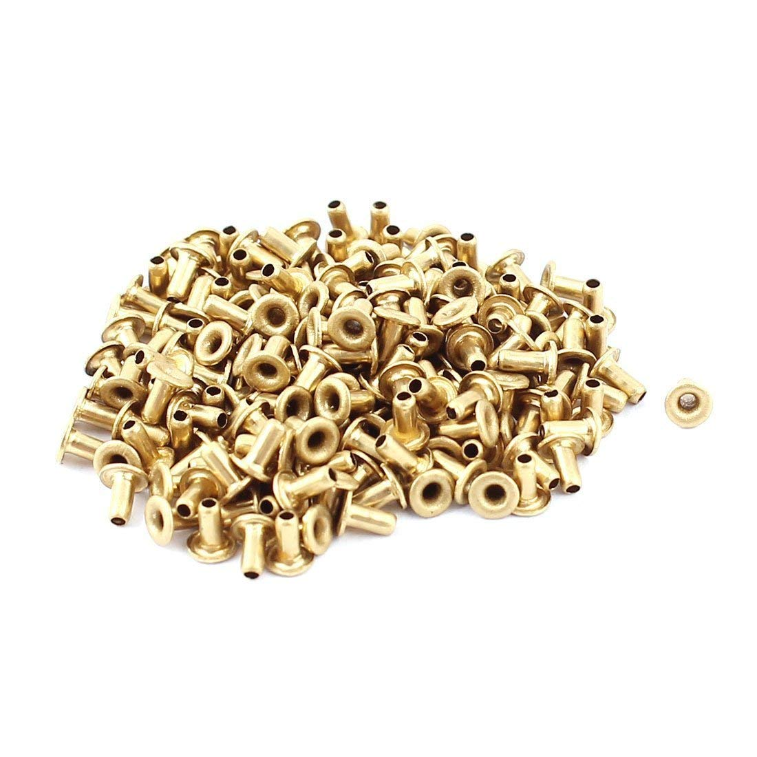 a15091700ux0367 M1.5x3 Through Hole Rivets Hollow Eyelets PCB Circuit Board Brass Plated Metal 200 Pack