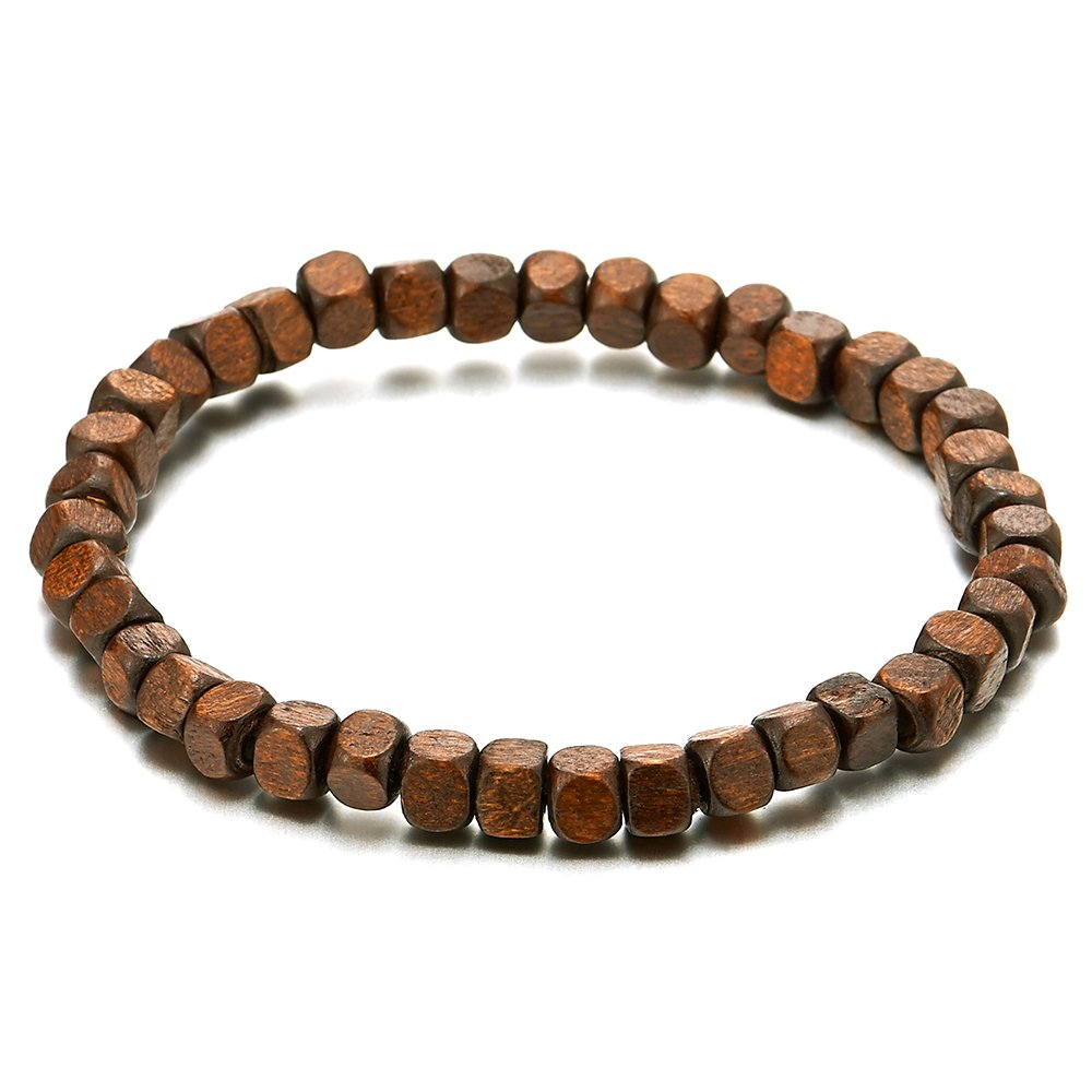 Mens Womens Small Brown Wood Beads Bracelet, 5mm Tibetan Beads Buddhist Prayer Mala, Stretchable COOLSTEELANDBEYOND MB-1262-CA
