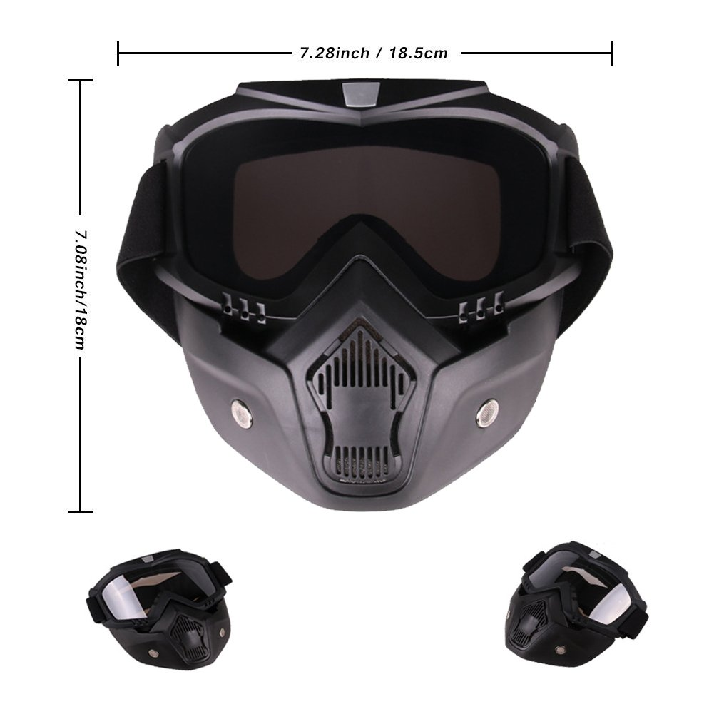 PiscatorZone Goggles Mask Tactical Goggles with Detachable Face Mask for Cycling Skiing Outdoor CS Paintball (Grey) by PiscatorZone