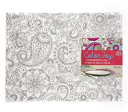 DCI Color Joy Placemats, Color Your Own Placemat, DIY Craft, Set of 12