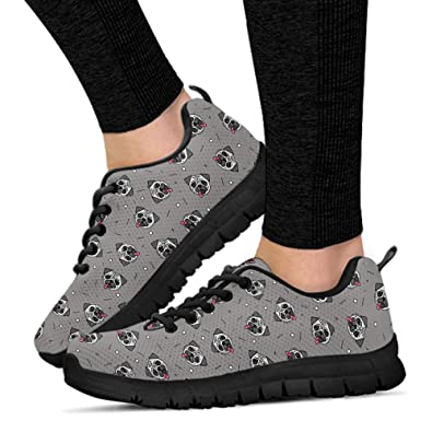 b1d1cafd01735 Amazon.com | ChiliPrints Women's Pug Shoes-Lightweight Breathable ...