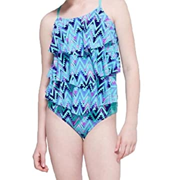 b2450df747 Amazon.com: Justice Girl's Zig Zag Tiered Tankini Swimsuit (8): Clothing