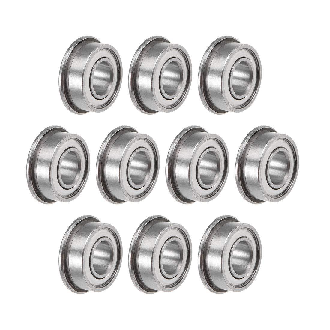 uxcell F686ZZ Flange Ball Bearing 6x13x5mm Shielded Chrome Bearings 10pcs