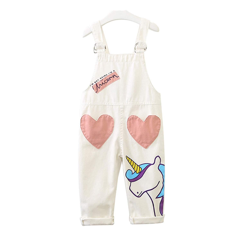 Girls Denim Pants Summer Cartoon Unicorn Girls Overall Casual Baby Girls Bib Pants