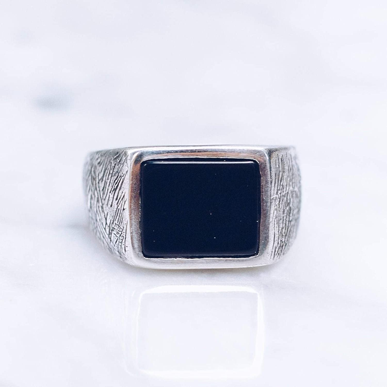 silver men ring with black onyx stone,black onyx ring,black onyx jewelry,stone ring,stone jewelry,men jewelry,statement ring,mens ring