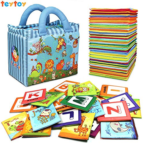 - TEYTOY Baby Toys, 26pcs Baby's Non-Toxic Educational Soft Intelligence Development Cloth Card Infant Learning Toys My First Alphabet Cards