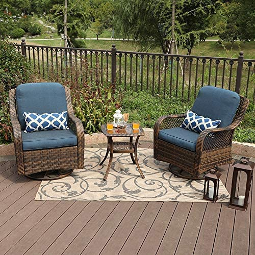 PHI VILLA 3 Piece Patio Furniture Set Outdoor Rattan Rocker Conversation Set with 1 Table and 2 Rocking Swivel Chairs Support 350lbs