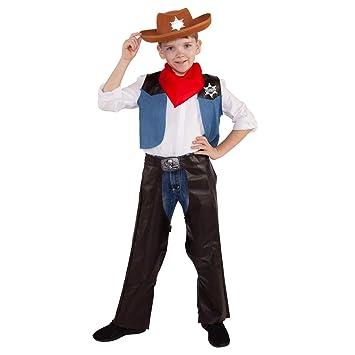 0bc9acc0587ff Morph Disfraz de Vaquero para niños Traje de Sheriff del Oeste Salvaje para  niños Rodeo Occidental para niños y niñas - Pequeño - (3 - 6 años)   Amazon.es  ...