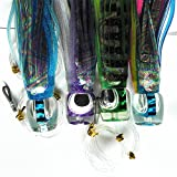 "Krazywolf 4Pcs 8"" Big Game Popper Trolling Lure Resin Head,Shinning Skirt,Heavy Duty Rigged Leader Hook,3.7oz/106g"