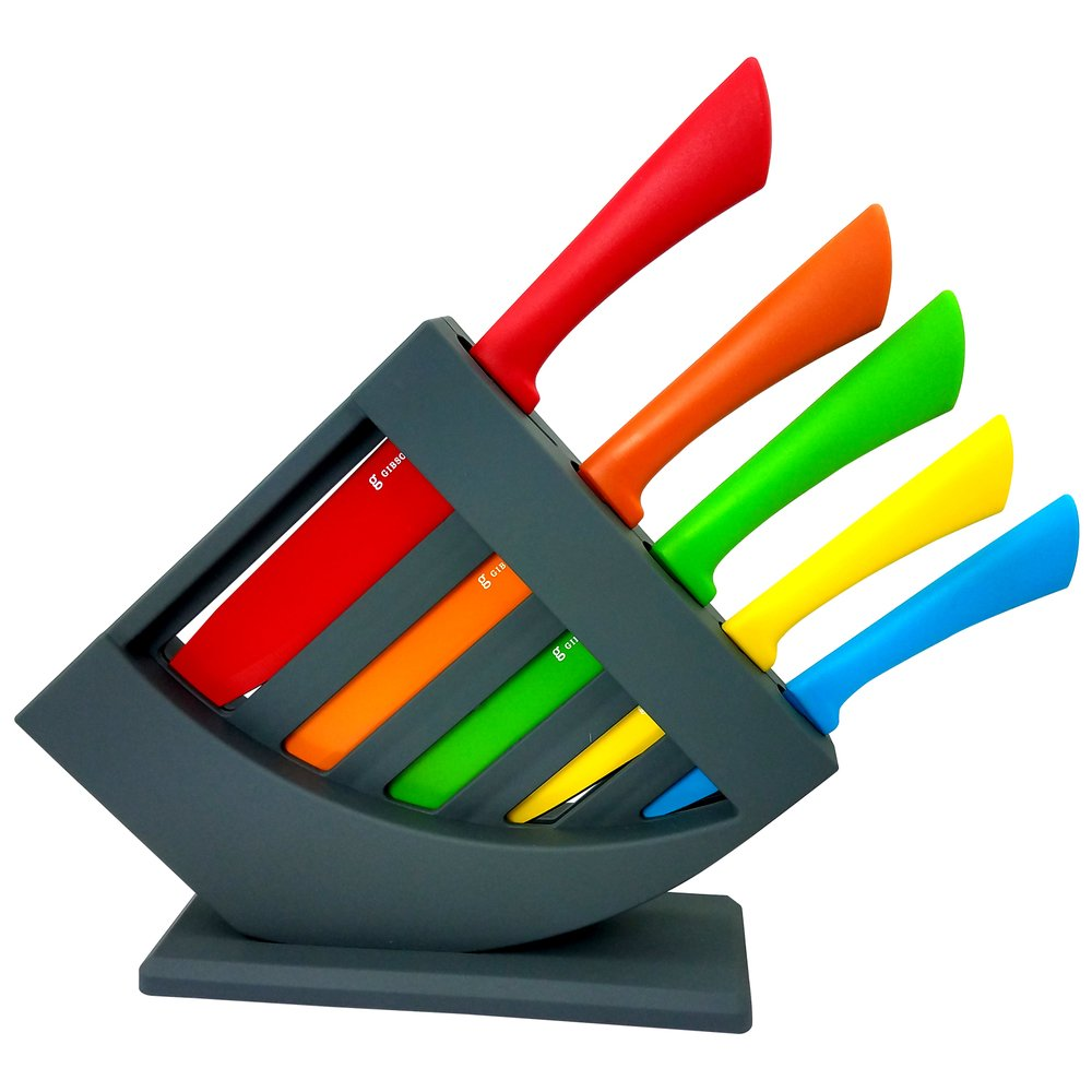 6 Pieces Colorful-Ergonomic- Non-stick Knife block set- Colorsplash Collection, Handley- by Gibson