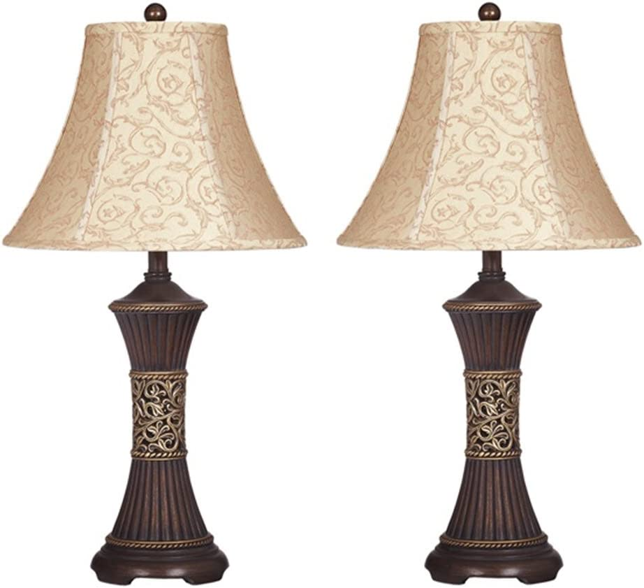 Amazon Com Signature Design By Ashley L372944 Mariana Poly Table Lamps Traditional Set Of Two Antique Brown Home Improvement