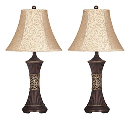 Ashley furniture signature design mariana resin table lamp traditional bell shades set of
