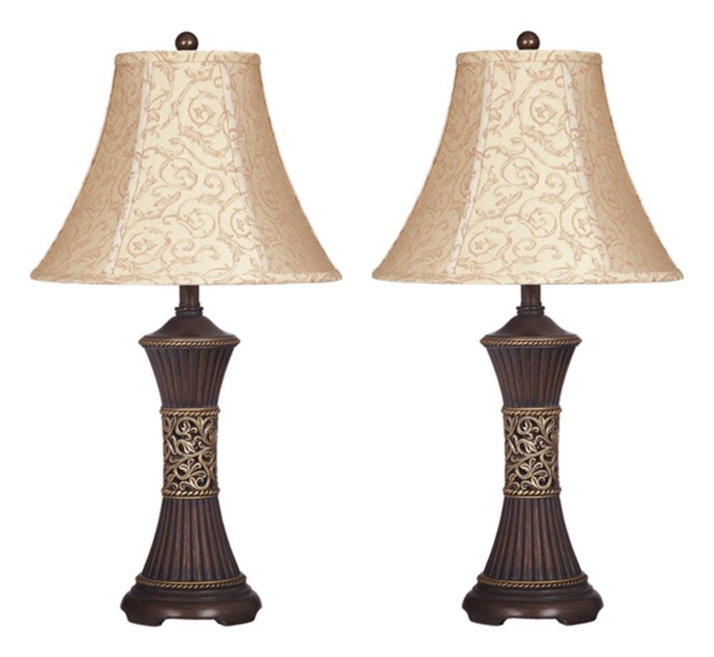 Signature Design by Ashley - Mariana Poly Table Lamps - Traditional - Set of Two - Antique Brown - SET OF 2 TRADITIONAL LAMPS: Elevate your home with a sense of refinement. These lamps are designed with the beloved vine motif, twisting and turning in elegant loops RIBBED TEXTURE: This poly resin table lamp is molded into a gentle hour glass shape with ribbed texture for visual interest VINE ACCENTS: Scrolling vine accents create a sense of refinement. The light beige lamp shade is full of swirling vines. An antiqued gold vine accent band around the lamp center completes the traditional look - lamps, bedroom-decor, bedroom - 61XUz7xuoLL -
