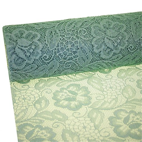 Sizolace table runner - Green - roses - 11 by 72, 90, 96, 108... - inch + 100 acrylic diamonds heart shaped for free - 79-300-25-045