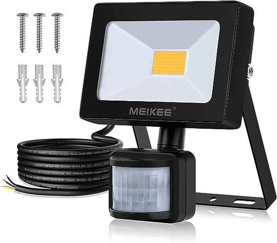Foco led exterior con Sensor Movimiento de alto brillo Luz Cálida 900lm, 10W, MEIKEE Proyector led exterior de impermeable IP66, Iluminación led de seguridad para patio, jardín, camino: Amazon.es: Iluminación