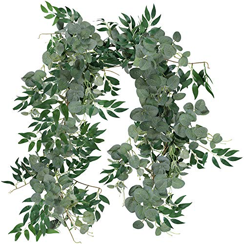 SUPLA Total 12' Long Faux Silver Dollar Eucalyptus Leaves Twig Vine Garland Willow Vines Twigs Garland Separate Decorative Hanging Wedding Arch Swag Backdrop Doorways Greenery Garland Indoor Outdoor ()