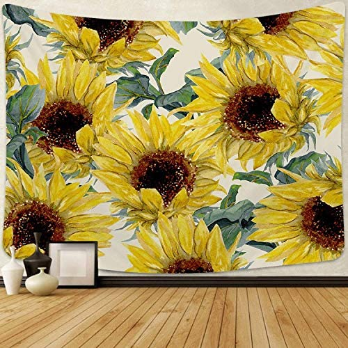 Smurfs Yingda Sunflowers Tapestry Wall Hanging Sunflower Plant Printed Tapestry Watercolor Flower Tapestry for Bedroom Living Room Dorm Room Sunflowers, 70.9 x 92.5 inches