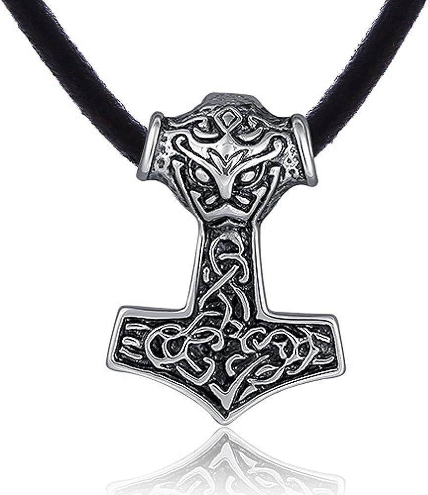 DonDon Collar de Cuero 50 cm y Colgante Martillo de Thor de Acero Inoxidable para Hombres en Bolsa de Terciopelo de Color Negro