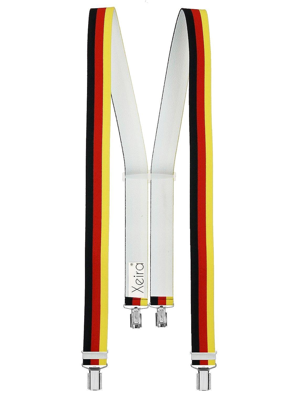 Bretelles de haute qualité pour Femmes/Hommes avec 4 CLIPS extra fort 35mm de large en 10 couleur design differentes - Fabriqué en Allemagne Allemagne)