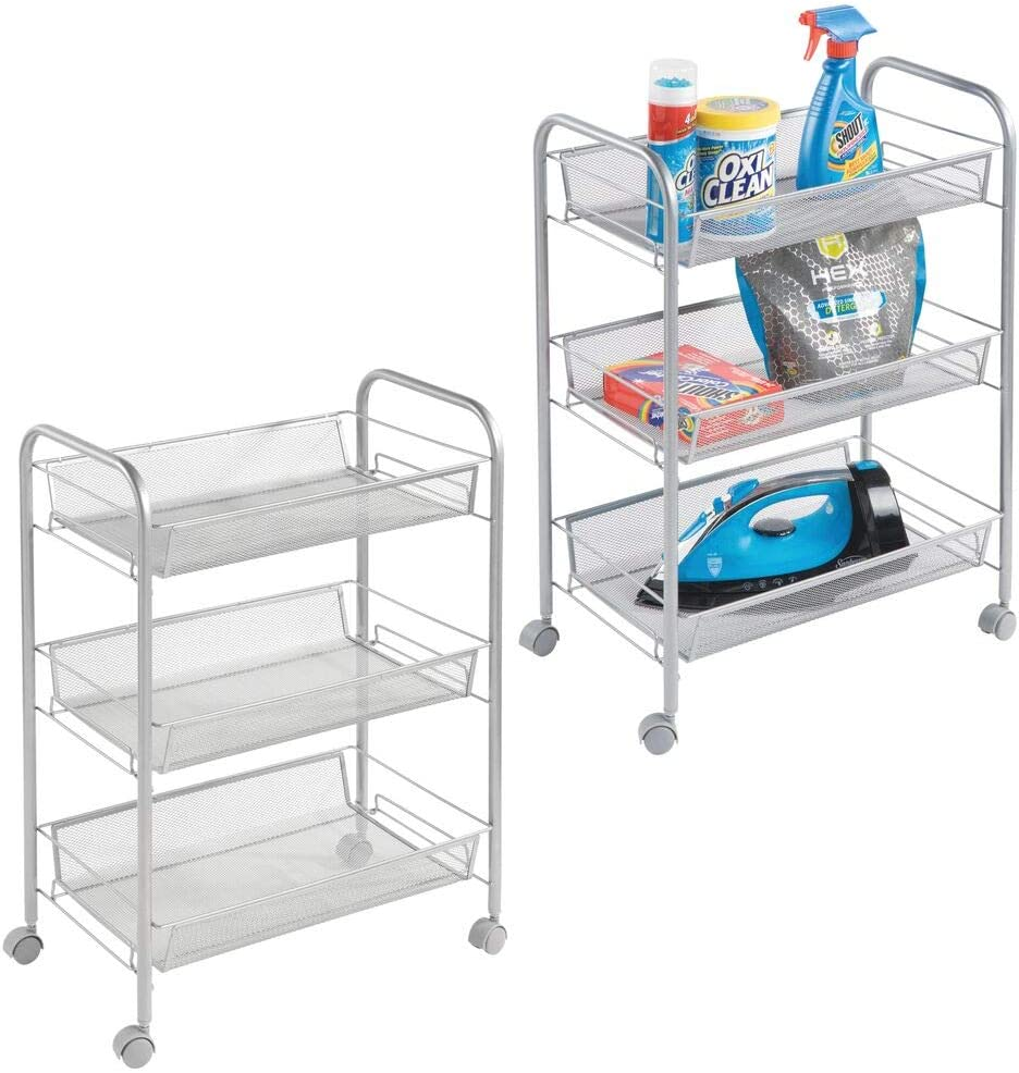 mDesign Portable Rolling Laundry Utility Cart Organizer Trolley with Easy-Glide Wheels and 3 Multipurpose Heavy-Duty Metal Mesh Basket Shelves - Wide Shelf - Durable Steel Frame - 2 Pack - Silver