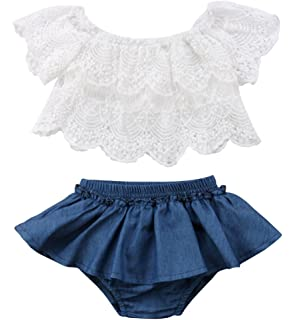 23fda4e1172 Qiylii 2PCS Baby Girl Lace T-Shirts Tops+Shorts Pants Tutu Skirt Kid Summer