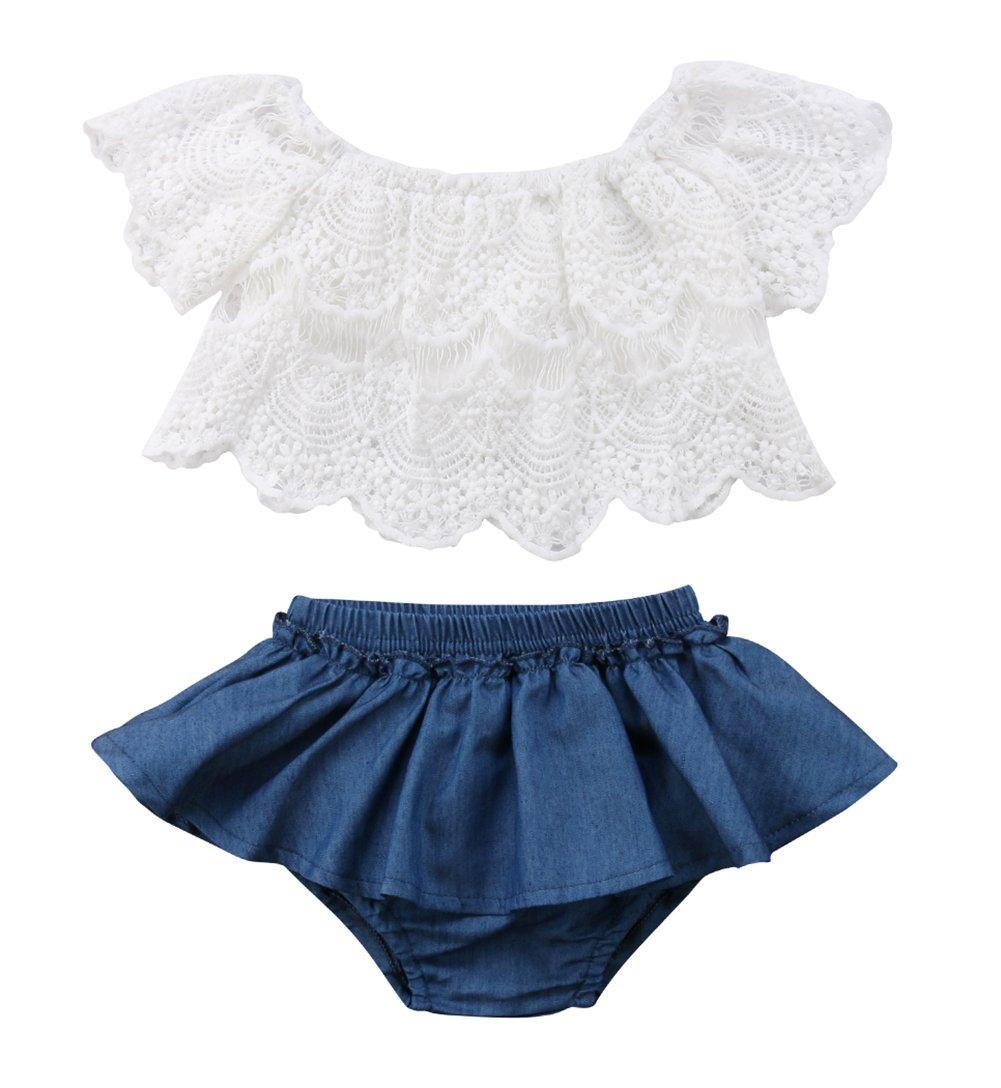 Qiylii 2PCS Baby Girl Lace T-Shirts Tops+Shorts Pants Tutu Skirt Kid Summer Clothes (0-6 Months)