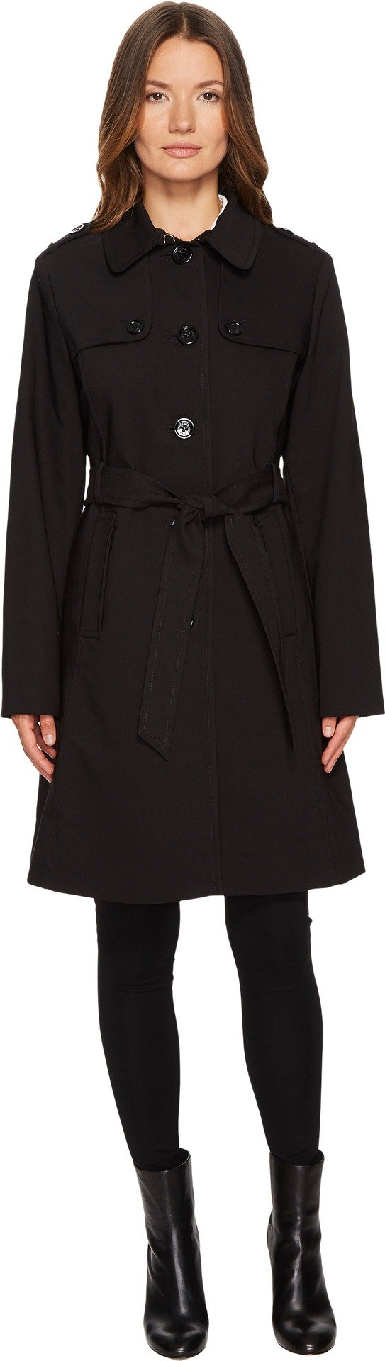 Kate Spade New York Womens Rain Tie Waist Fit and Flare Trench Coat Black MD One Size