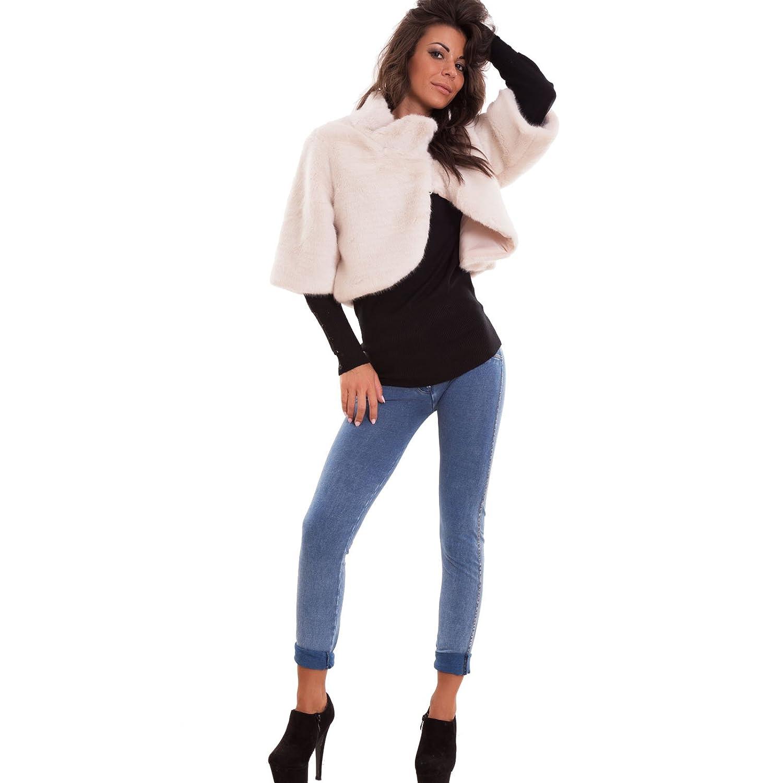 huge selection of 75b3e 543e7 Cappa donna eco pelliccia coprispalle maniche 3/4 cappotto ...