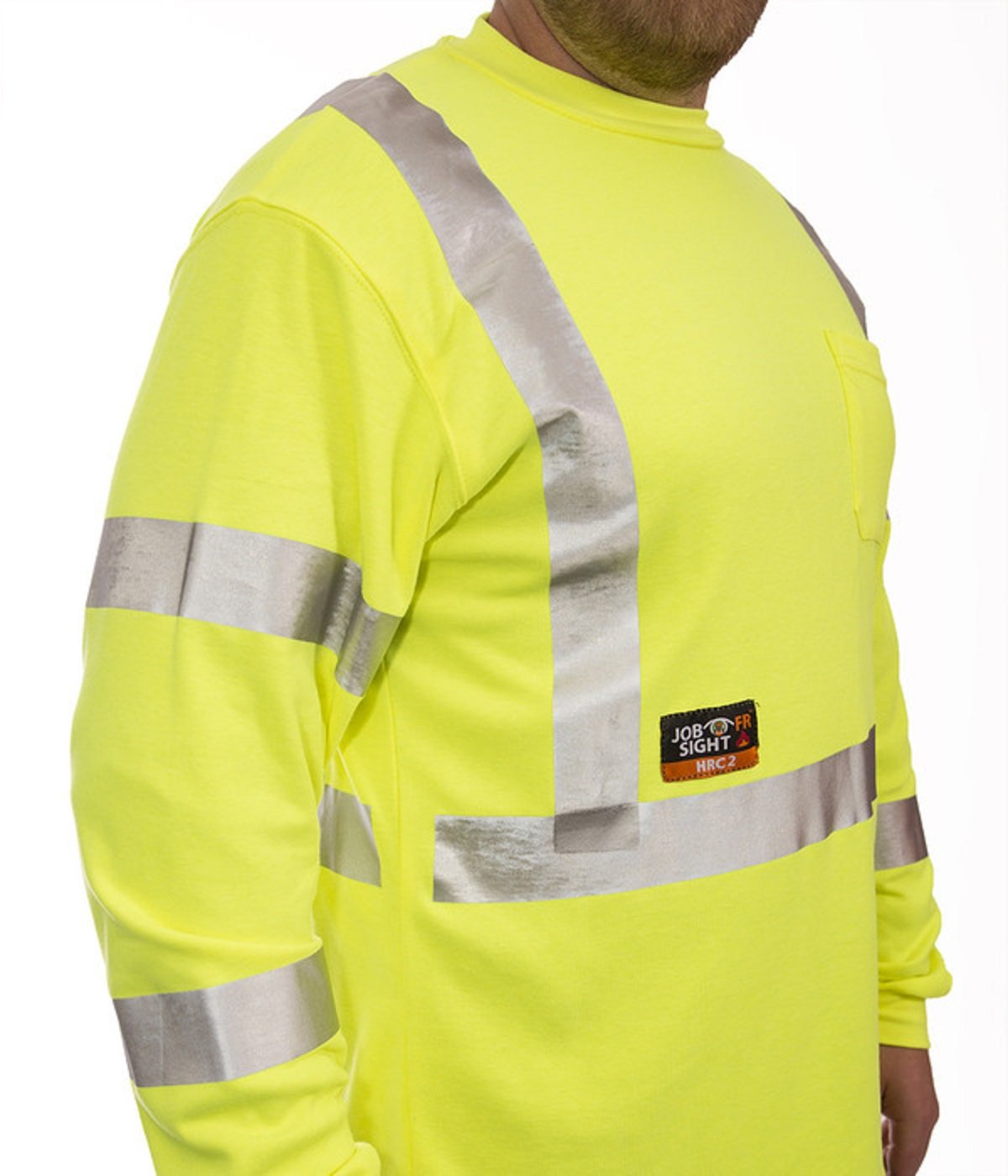 JOB SIGHT FR S85522.XL Class 3 Flame Resistant Long Sleeve T-Shirt with 1 Pocket and Silver Reflective Tape X-Large Dummy Code for Tools Fluorescent Yellow//Green Trumbull Industries