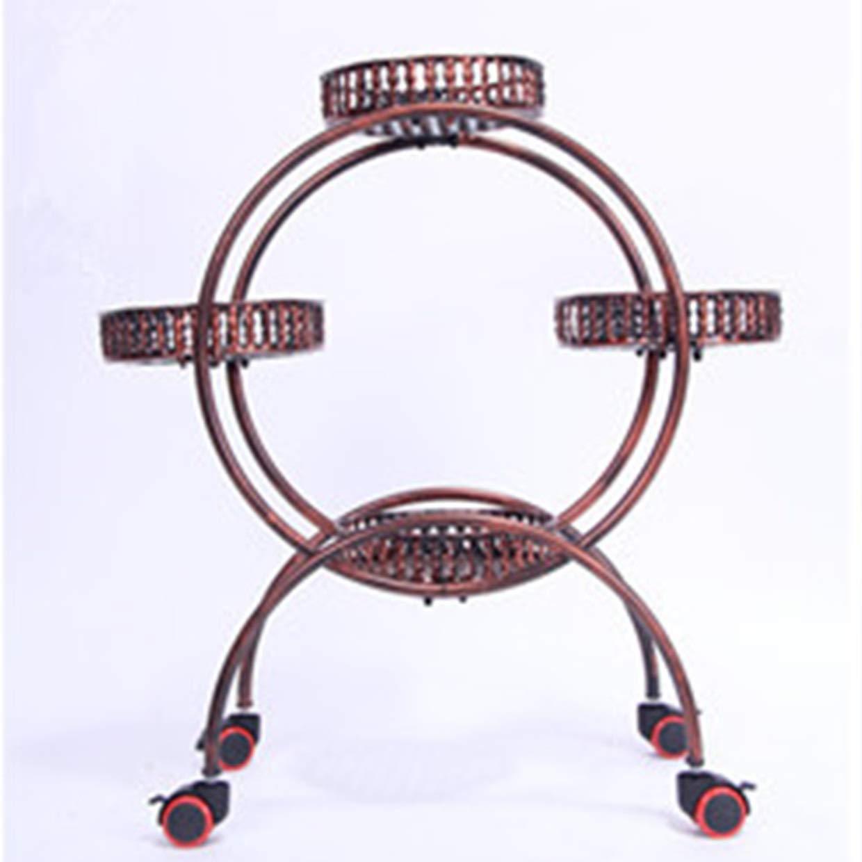 Stand di Piante Vaso a più Strati Vaso di Fiori in Ferro battuto Assemblea in Stile Europeo Angolo Soggiorno Ripiani mobili Balcone Giardino Semplice Bonsai (colore   A Brake Wheel)