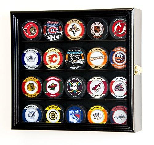 (20 Hockey Puck Display Case Cabinet Holder Wall Rack 98% UV Protection (Black Finish))