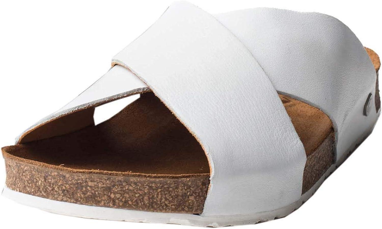HAFLINGER Cross Strap Leather Mule   Bio Mio, White