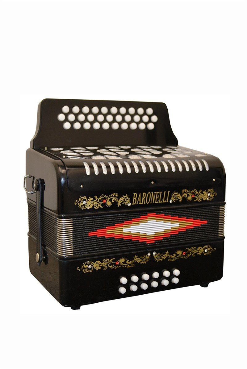 Full Size 31 Button Black Diatonic Accordion Key of SOL G,C,F, with Hardshell Case and Back Straps, & DirectlyCheap(TM) Translucen Blue Medium Pick