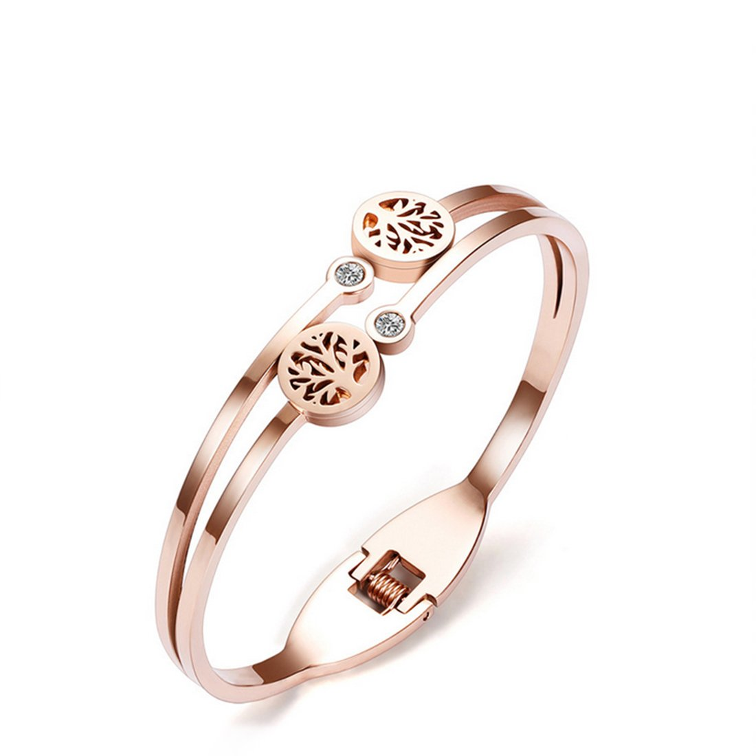 AZFEIYA Stainless Steel Bracelet for Women Rose Gold Plated Oval Cuff Tree of Life Open Adjustable Bangle (Rose Gold bracelet)