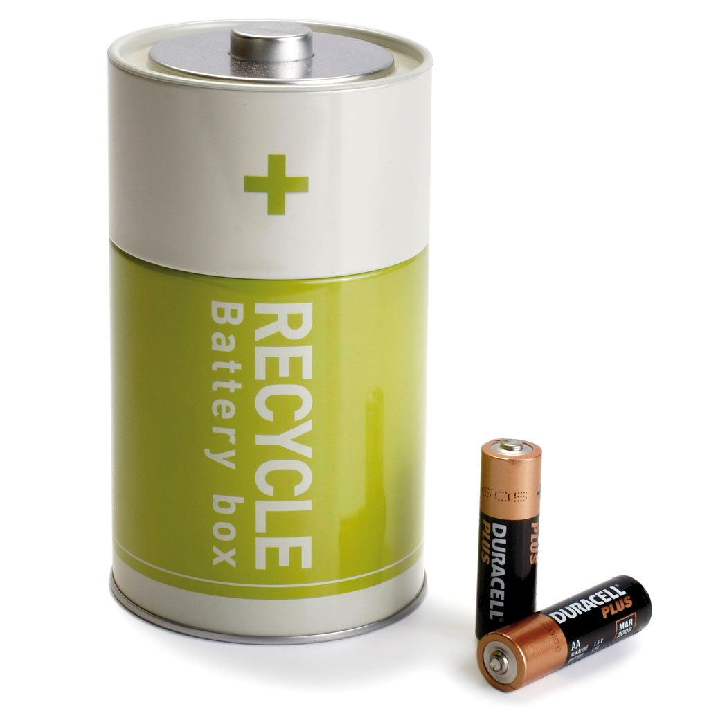 Green Recycle Battery Tin Box Used Batteries Waste Disposal [Kitchen] RB211