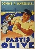 """Millésime. Bières, Vins et Spiritueux """" PASTIS OLIVE. COMME Á MARSEILLE """" Environ 1936 Sur Format A3 Papiers Brillants de 250g. Affiches de Reproduction"""