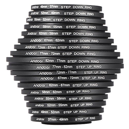 62 Mm Adapter Ring - Andoer 18pcs 37-49-52-55-58-62-67-72-77-82mm Step Up/Step Down Lens Filter Metal Adapter Ring Kit