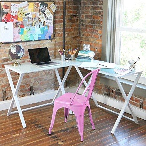 White Glass Chimney (WE Furniture Elite Soreno Glass Corner Computer Desk, White)